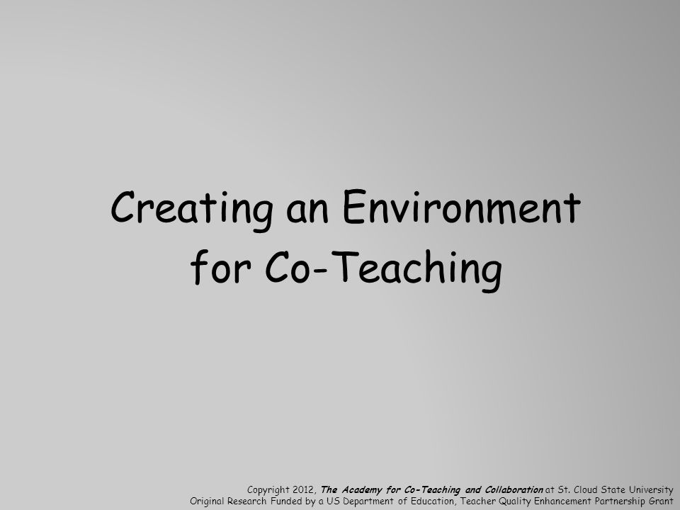 Creating an Environment for Co-Teaching