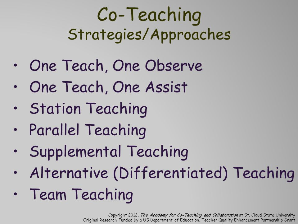 Co-Teaching Strategies/Approaches