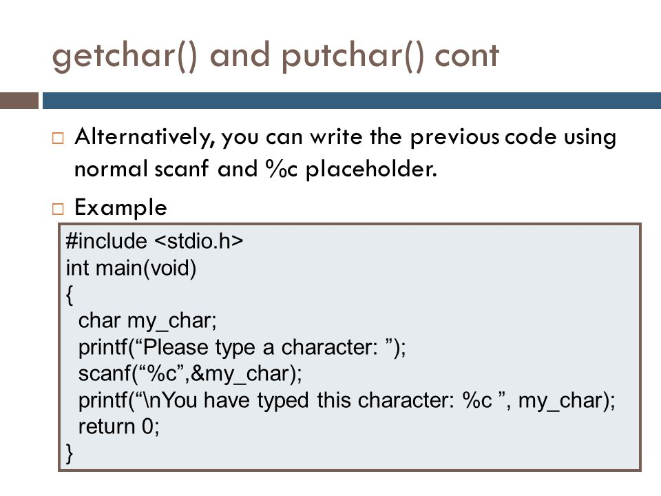 getchar() and putchar() cont