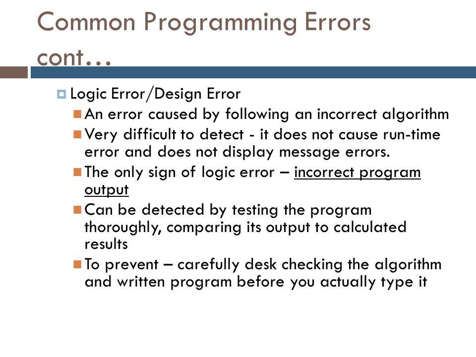 Common Programming Errors cont…