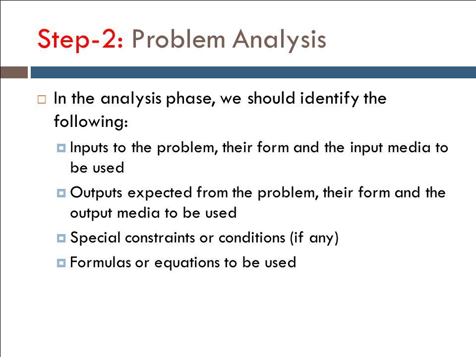 Step-2: Problem Analysis