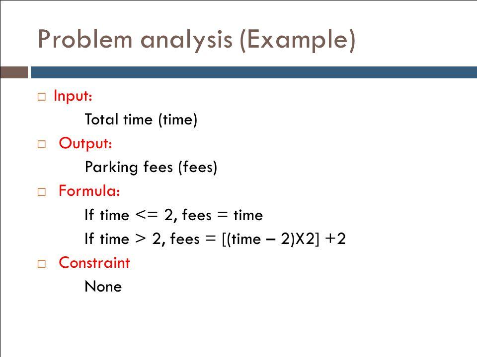 Problem analysis (Example)