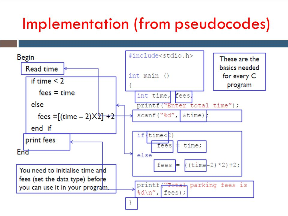 Implementation (from pseudocodes)