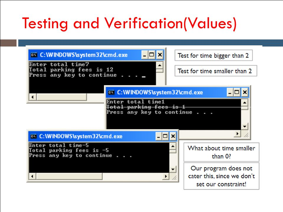 Testing and Verification(Values)