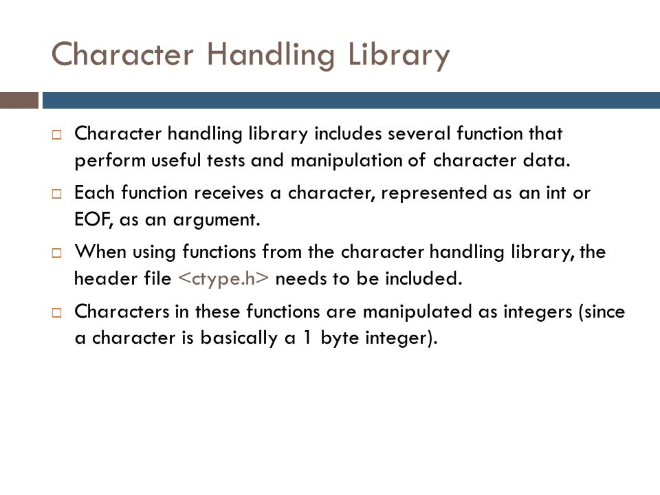 Character Handling Library