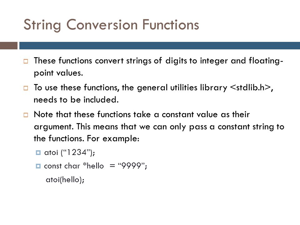 String Conversion Functions