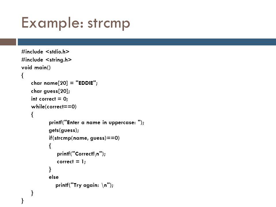 Example: strcmp
