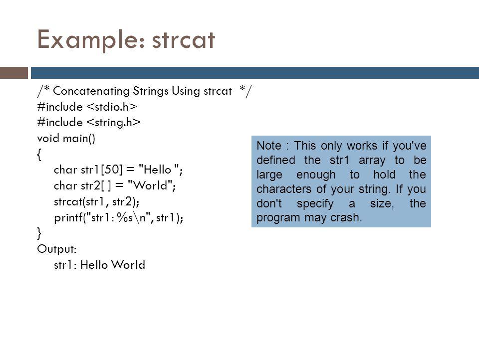 Example: strcat