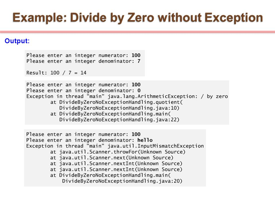 Example: Divide by Zero without Exception