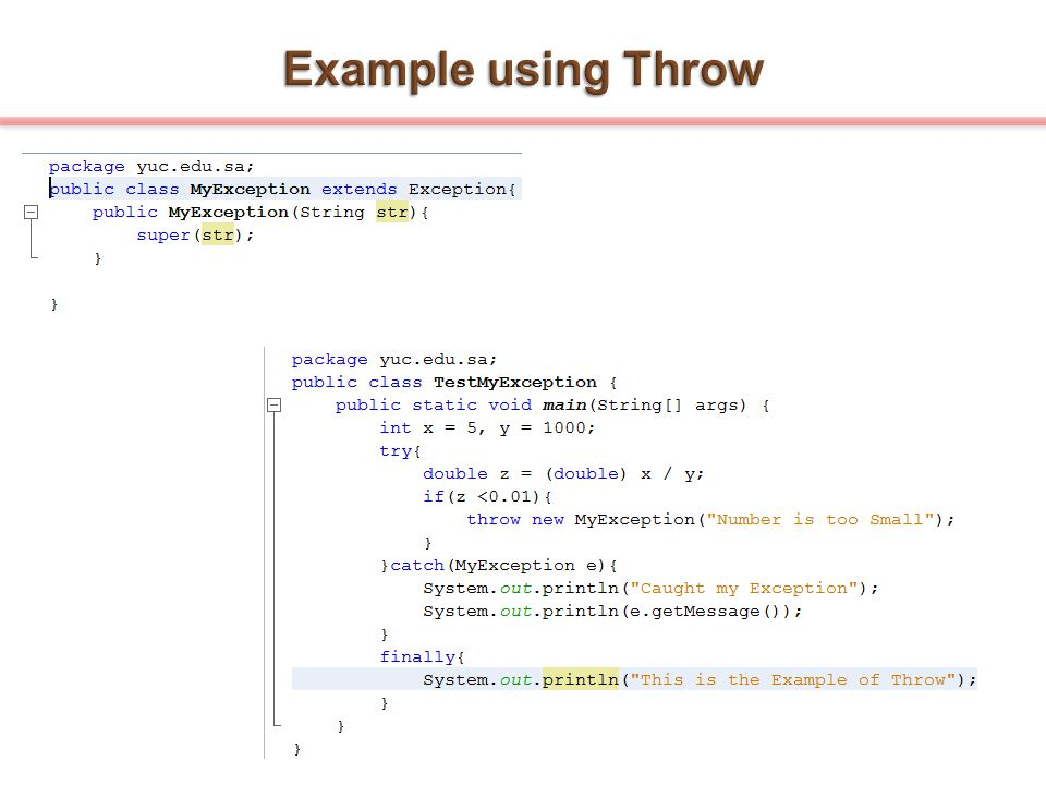 Example using Throw