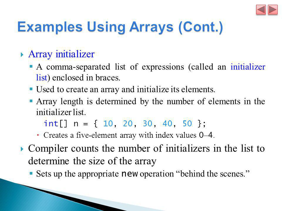 Examples Using Arrays (Cont.)