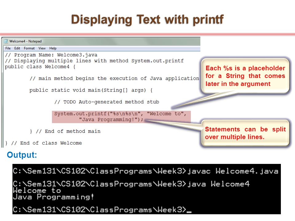 Displaying Text with printf