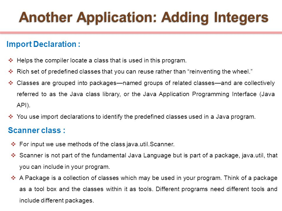 Another Application: Adding Integers