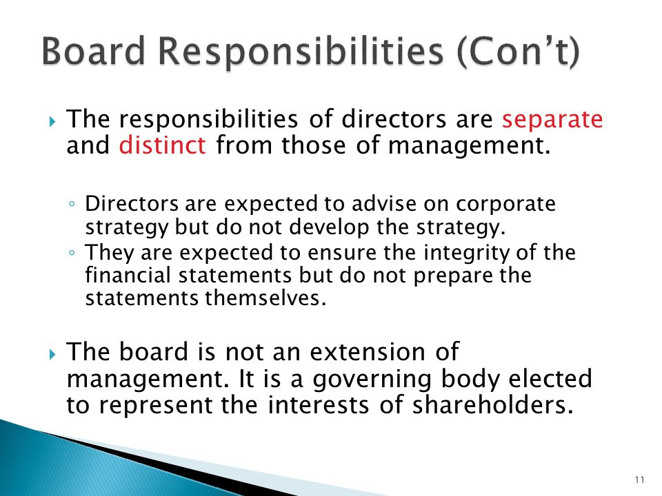 Board Responsibilities (Con't)