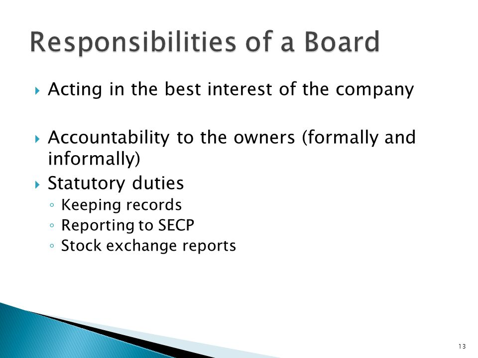 Responsibilities of a Board