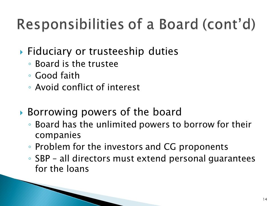 Responsibilities of a Board (cont'd)
