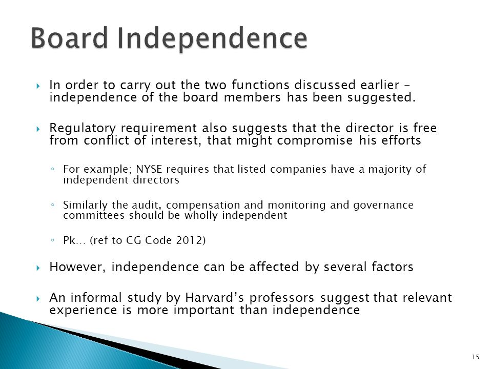 Board Independence In order to carry out the two functions discussed earlier – independence of the board members has been suggested.