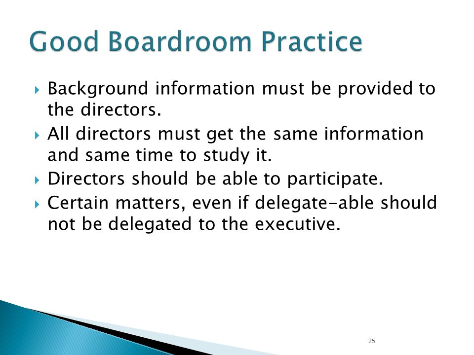Good Boardroom Practice