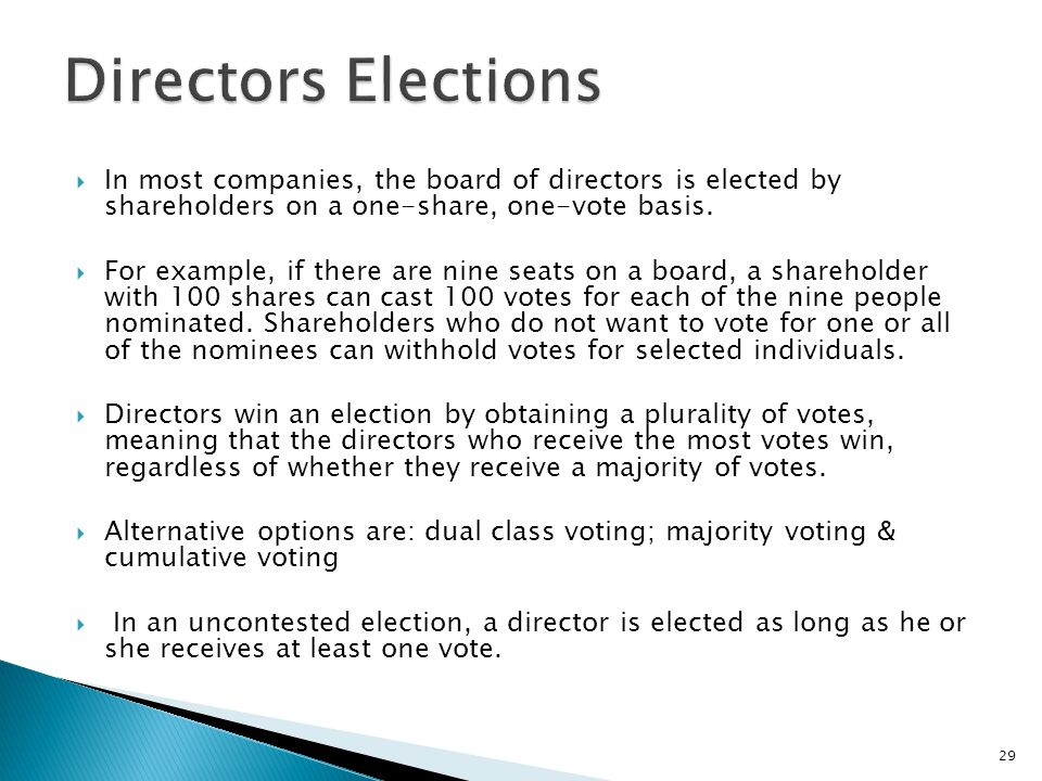 Directors Elections In most companies, the board of directors is elected by shareholders on a one-share, one-vote basis.