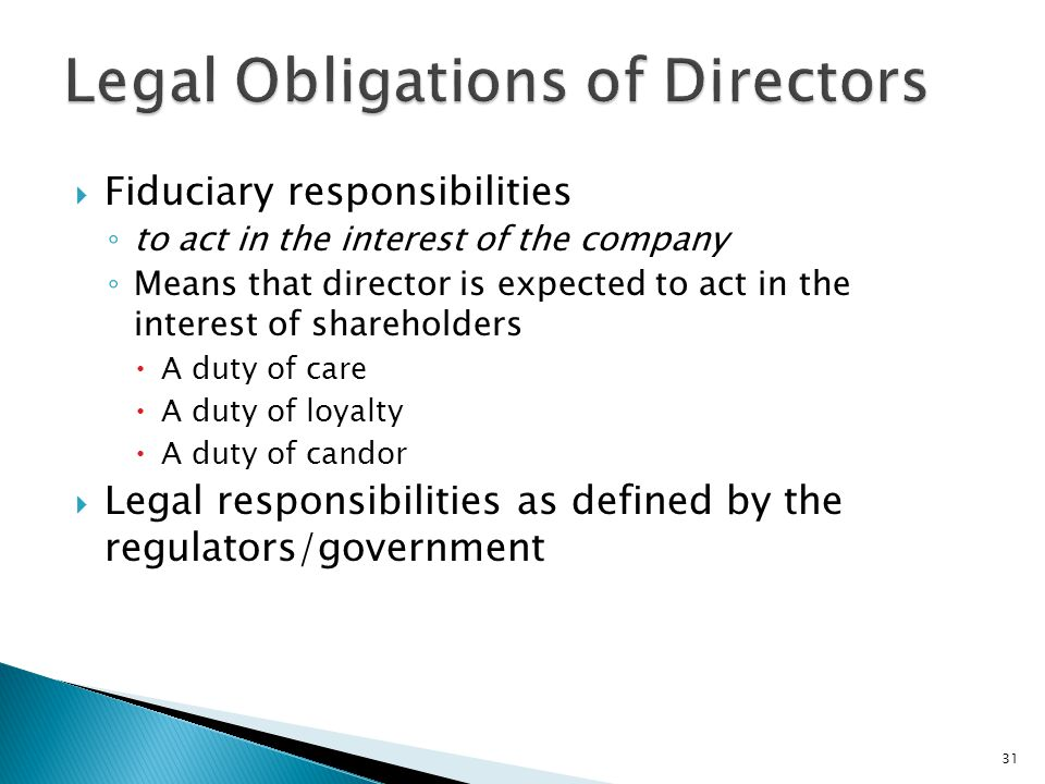 Legal Obligations of Directors