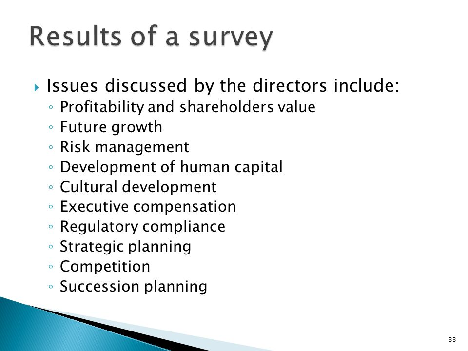 Results of a survey Issues discussed by the directors include: