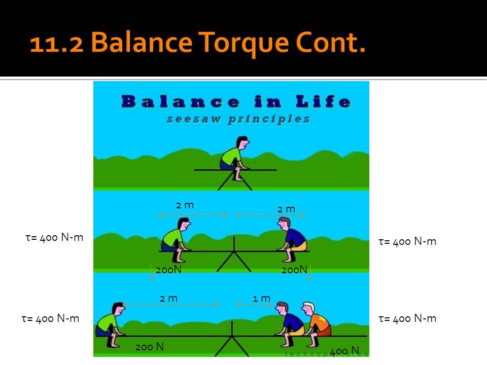 11.2 Balance Torque Cont. 200N 2 m 2 m τ= 400 N-m τ= 400 N-m 200N 2 m