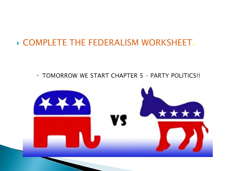 COMPLETE THE FEDERALISM WORKSHEET.