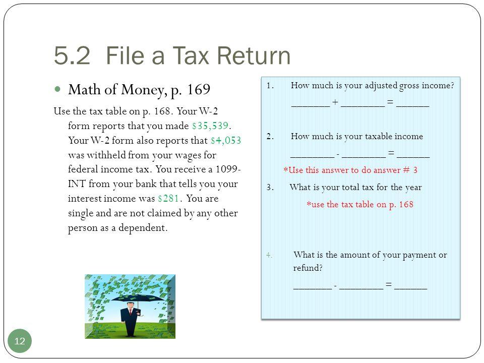 5.2 File a Tax Return Math of Money, p. 169