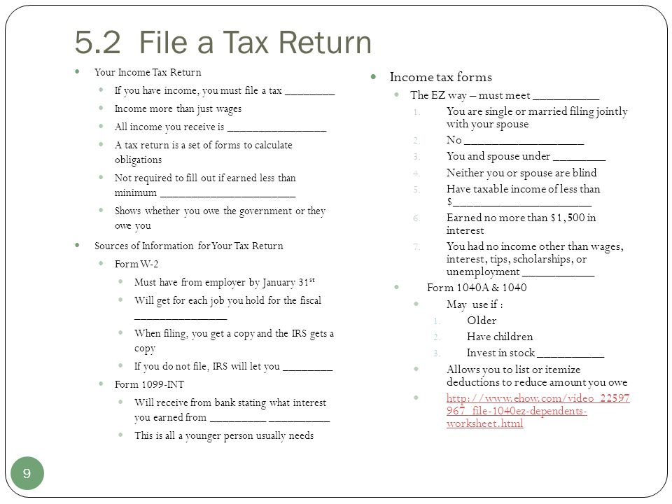 5.2 File a Tax Return Income tax forms