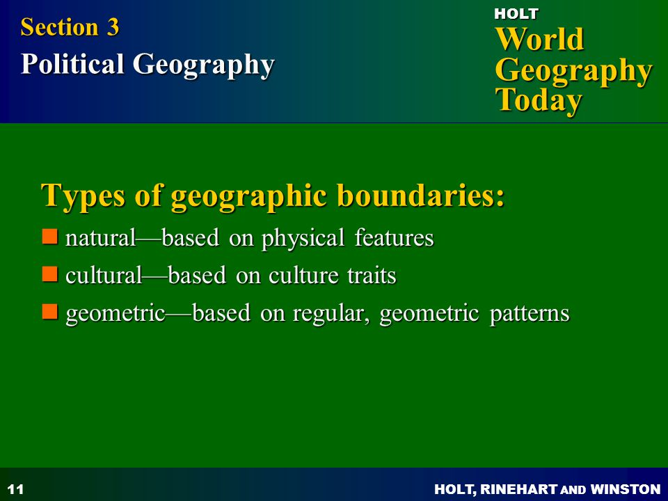 Types of geographic boundaries: