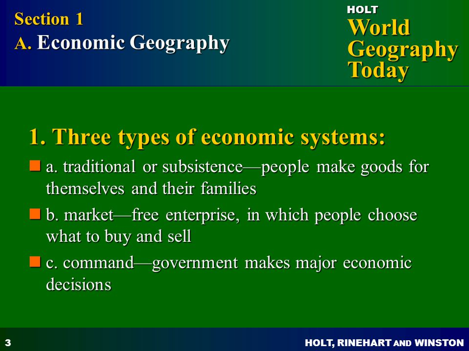 1. Three types of economic systems: