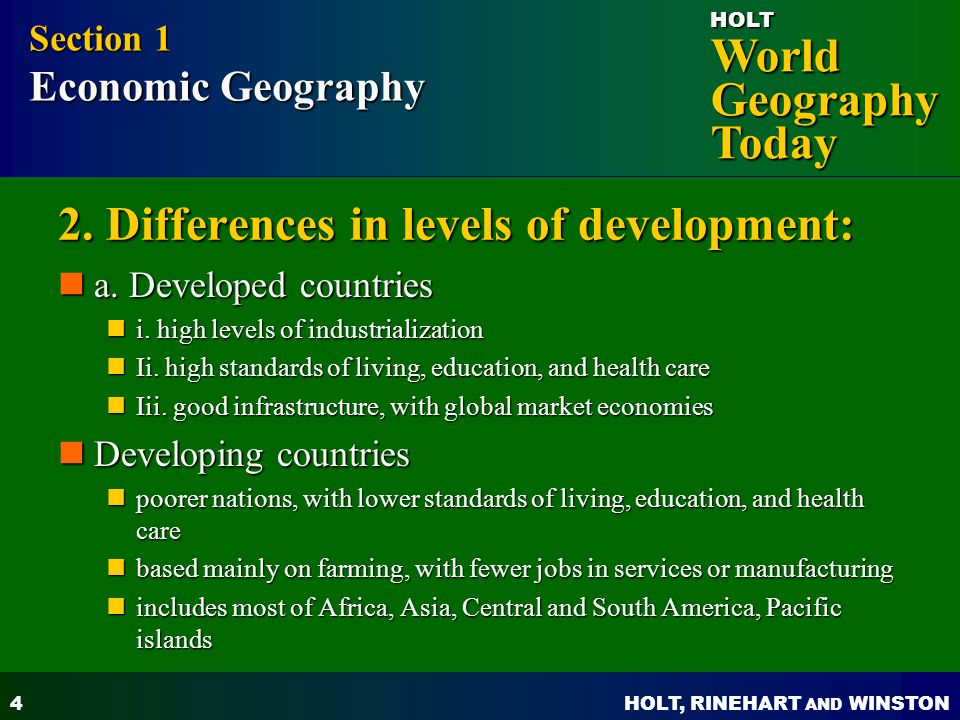 2. Differences in levels of development: