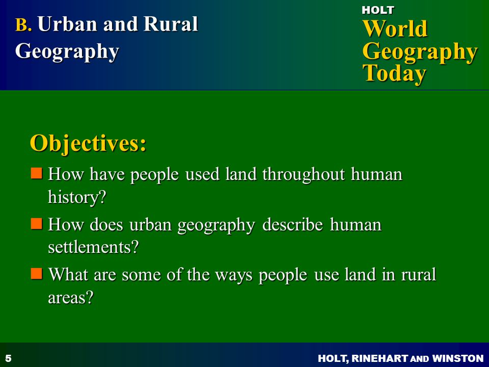 Objectives: B. Urban and Rural Geography