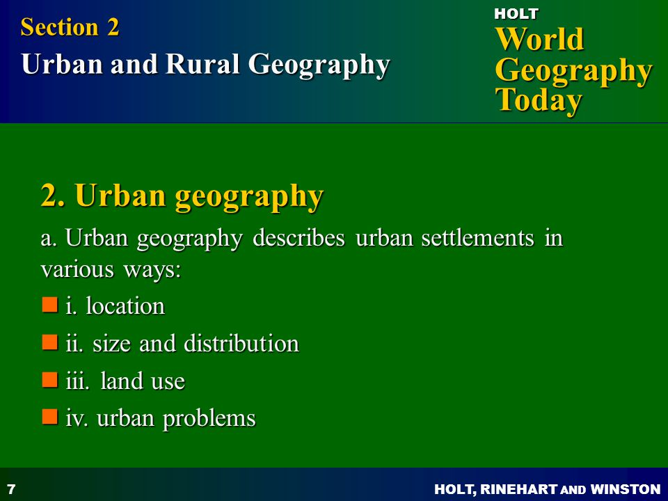 2. Urban geography Section 2 Urban and Rural Geography
