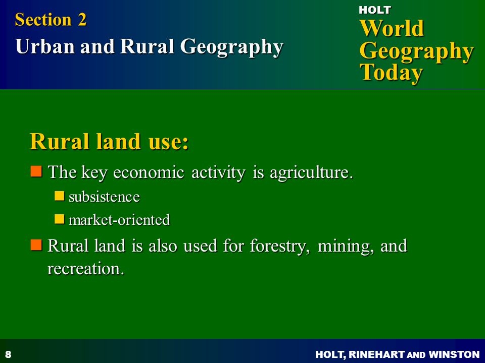 Rural land use: Section 2 Urban and Rural Geography