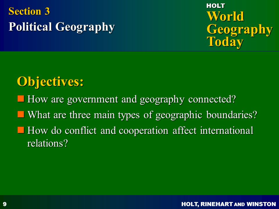 Objectives: Section 3 Political Geography