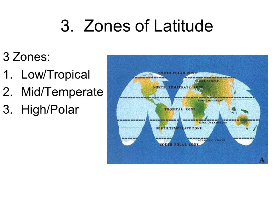 3. Zones of Latitude 3 Zones: Low/Tropical Mid/Temperate High/Polar