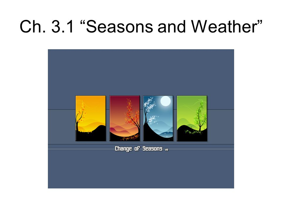 Ch. 3.1 Seasons and Weather