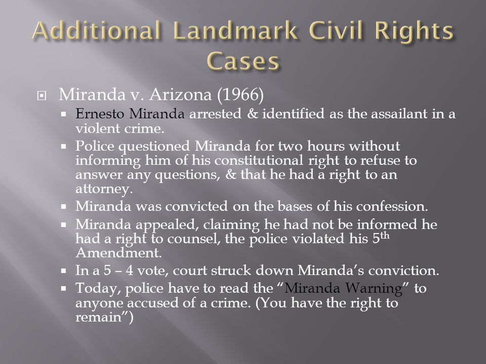 Additional Landmark Civil Rights Cases