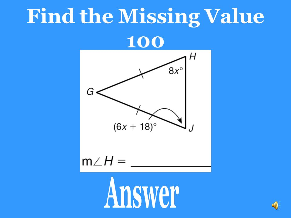 Find the Missing Value 100 Answer