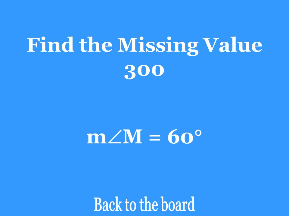 Find the Missing Value 300 mM = 60