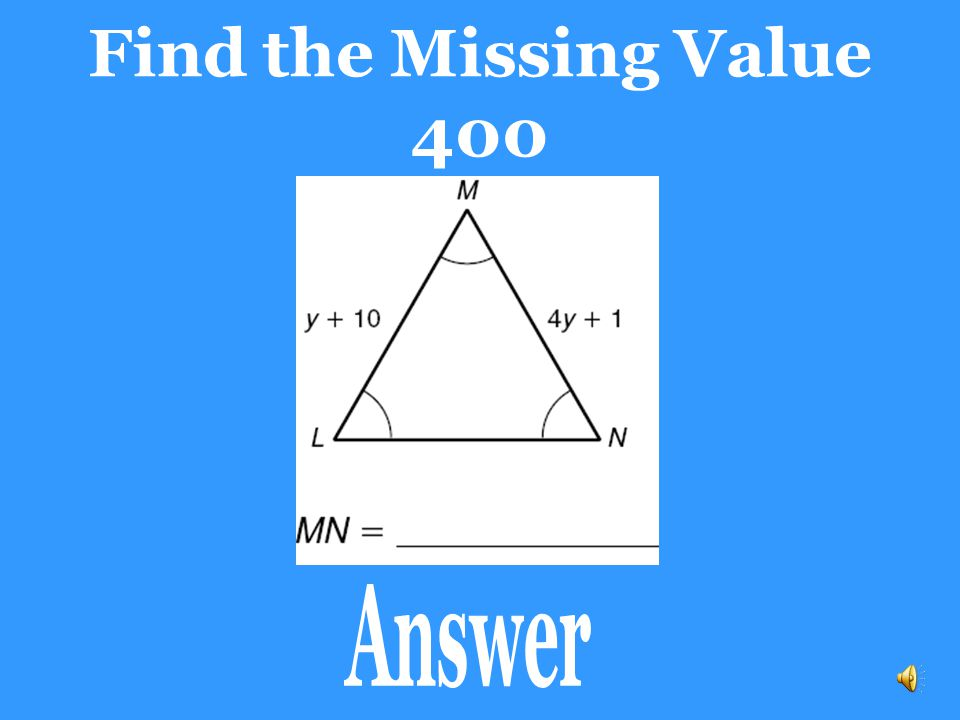 Find the Missing Value 400 Answer