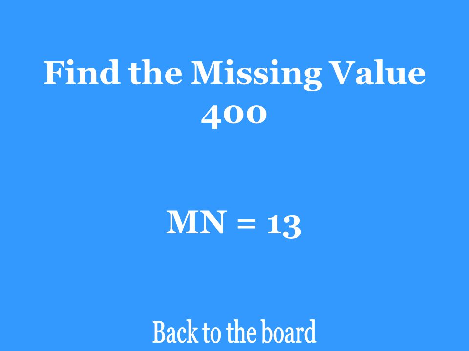 Find the Missing Value 400 MN = 13