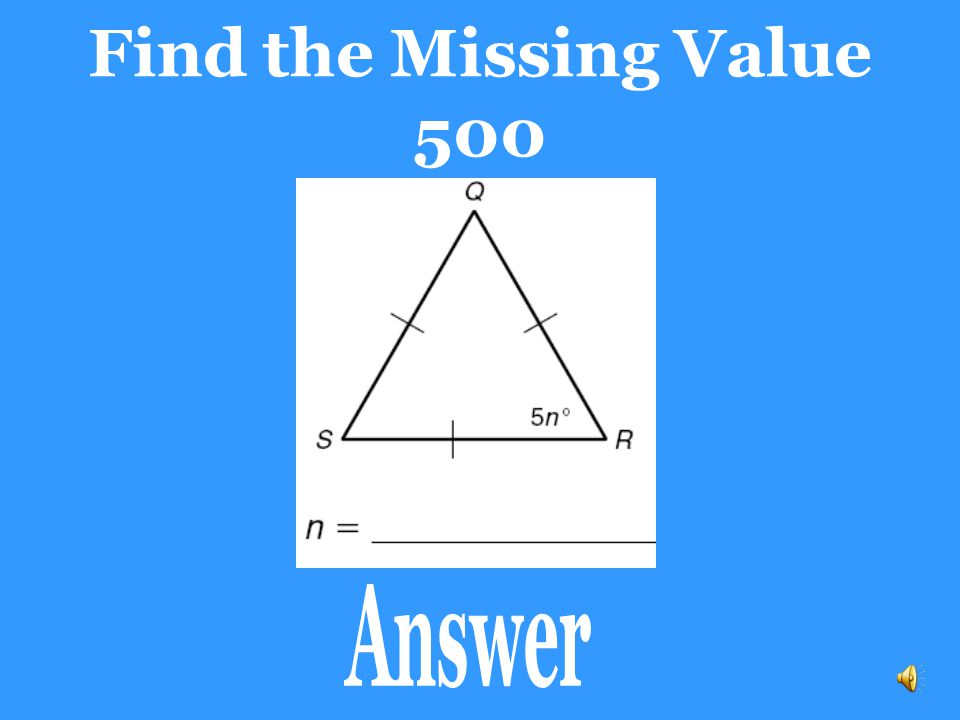 Find the Missing Value 500 Answer