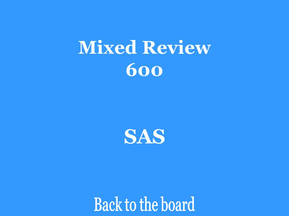 Mixed Review 600 SAS Back to the board