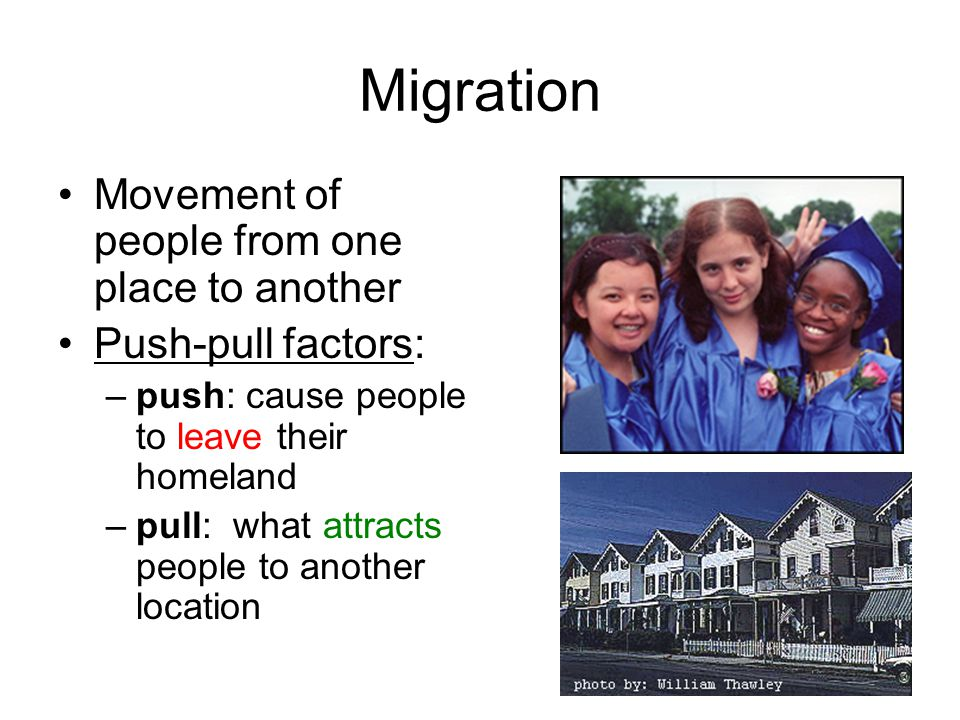 Migration Movement of people from one place to another