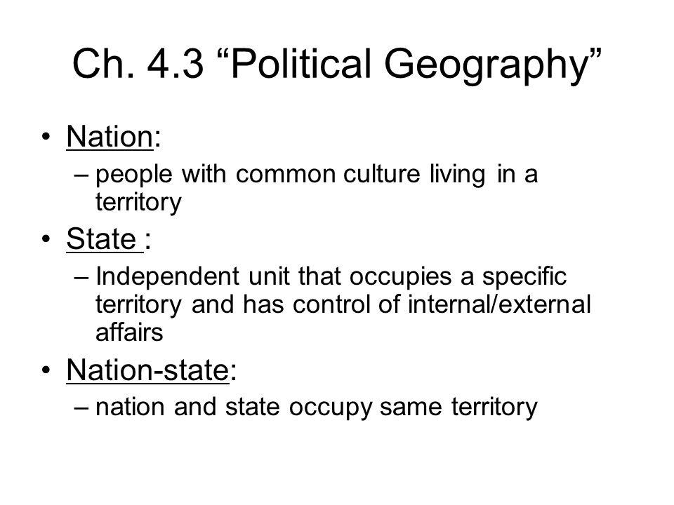 Ch. 4.3 Political Geography