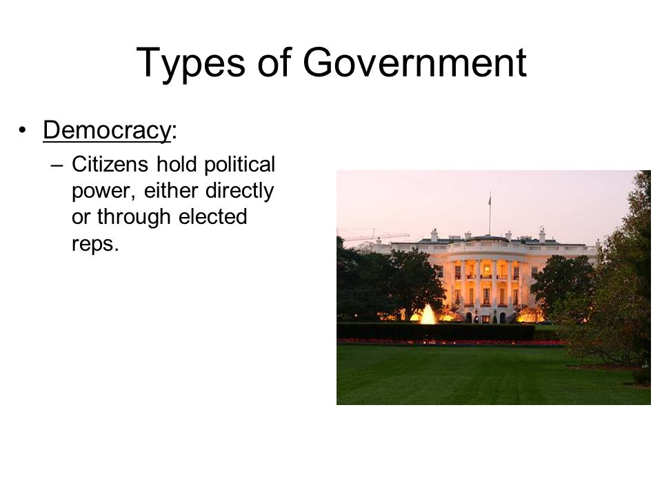 Types of Government Democracy: