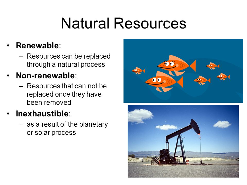 Natural Resources Renewable: Non-renewable: Inexhaustible: