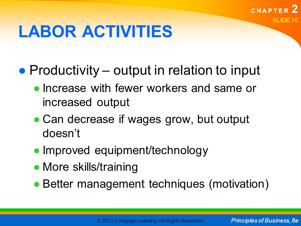 LABOR ACTIVITIES Productivity – output in relation to input